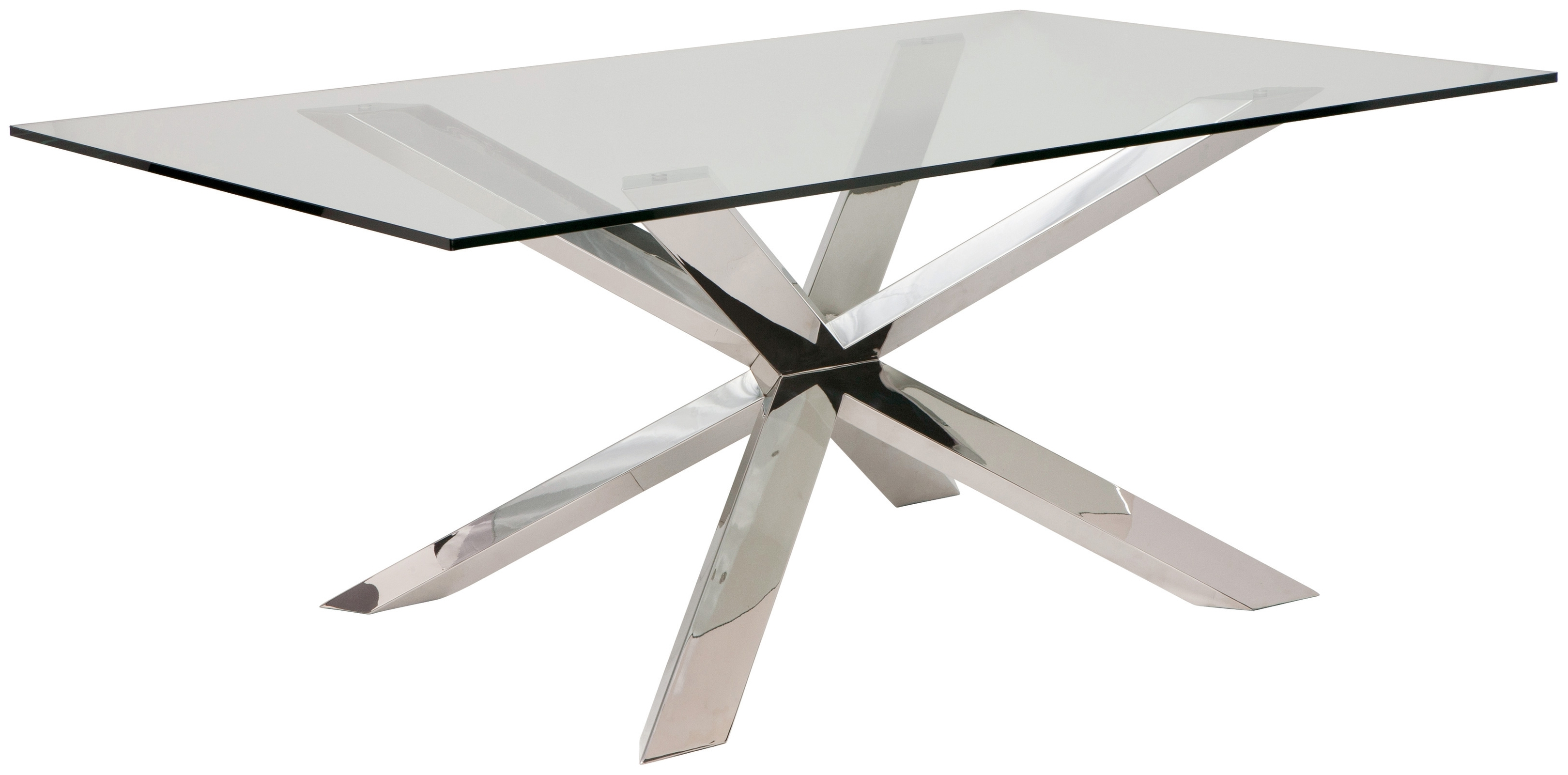 Most Popular Glass And Stainless Steel Dining Tables Pertaining To Couture 78 Inch Dining Table In Polished Silver Stainless Steel And (View 18 of 25)