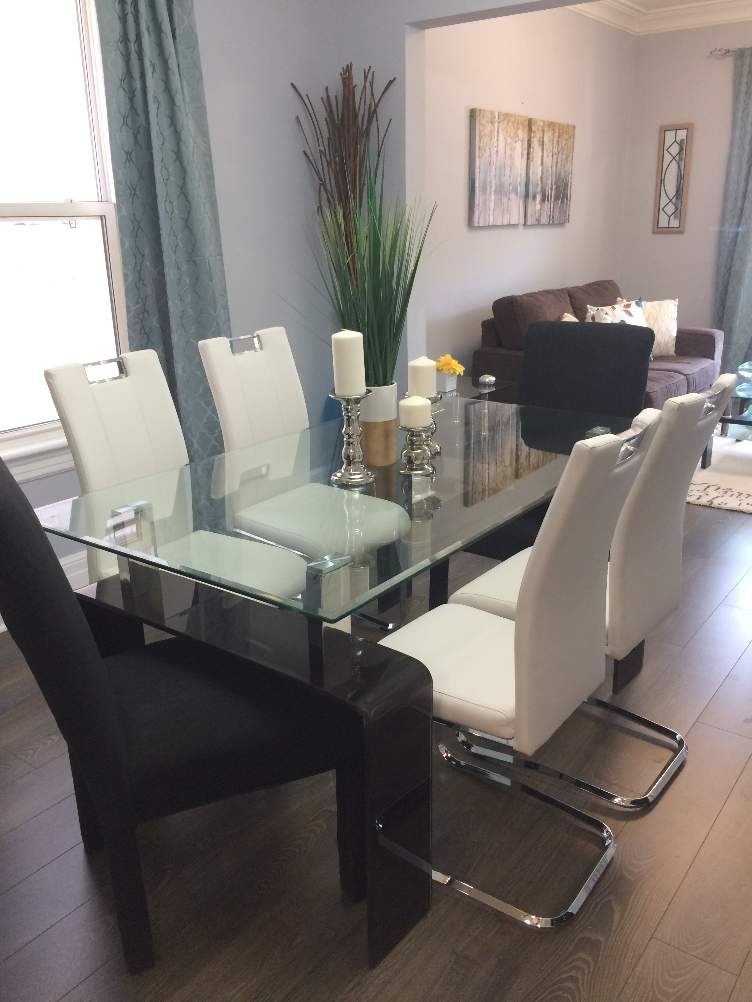 Most Popular Glass Dining Tables With Wooden Legs Throughout Rectangle Glass & Black Glass Leg Dining Table – M&m Home Staging (View 8 of 25)