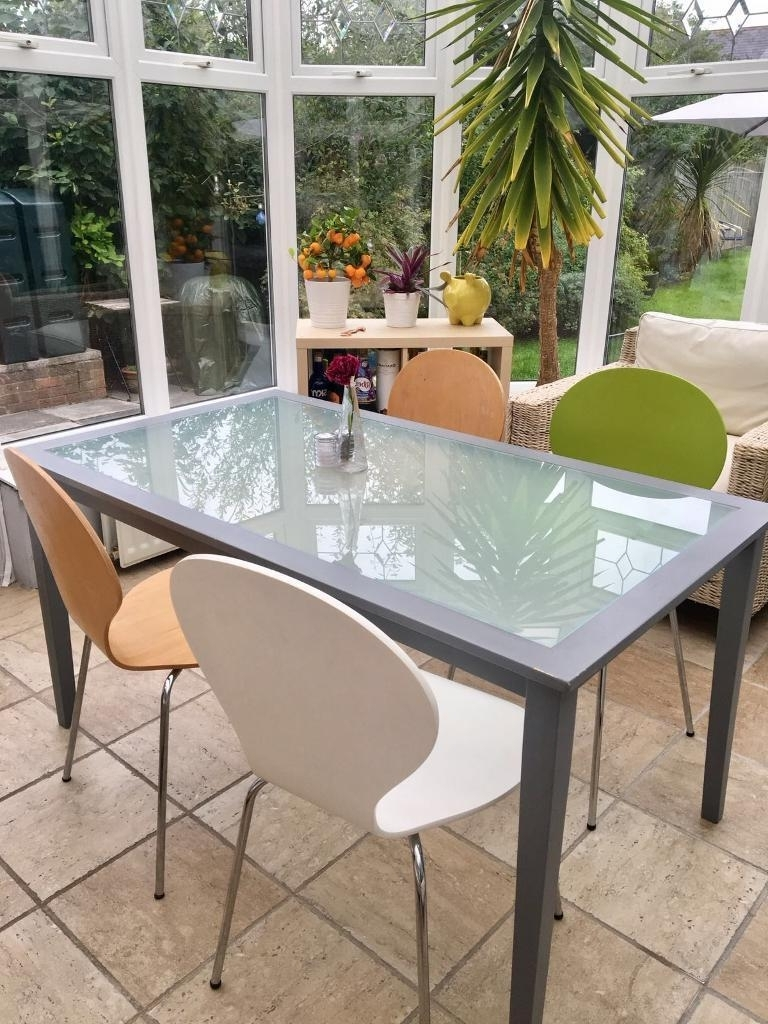 Most Popular Grey Glass Dining Tables In Grey Wooden/glass Dining Table With Chairs (Gallery 21 of 25)
