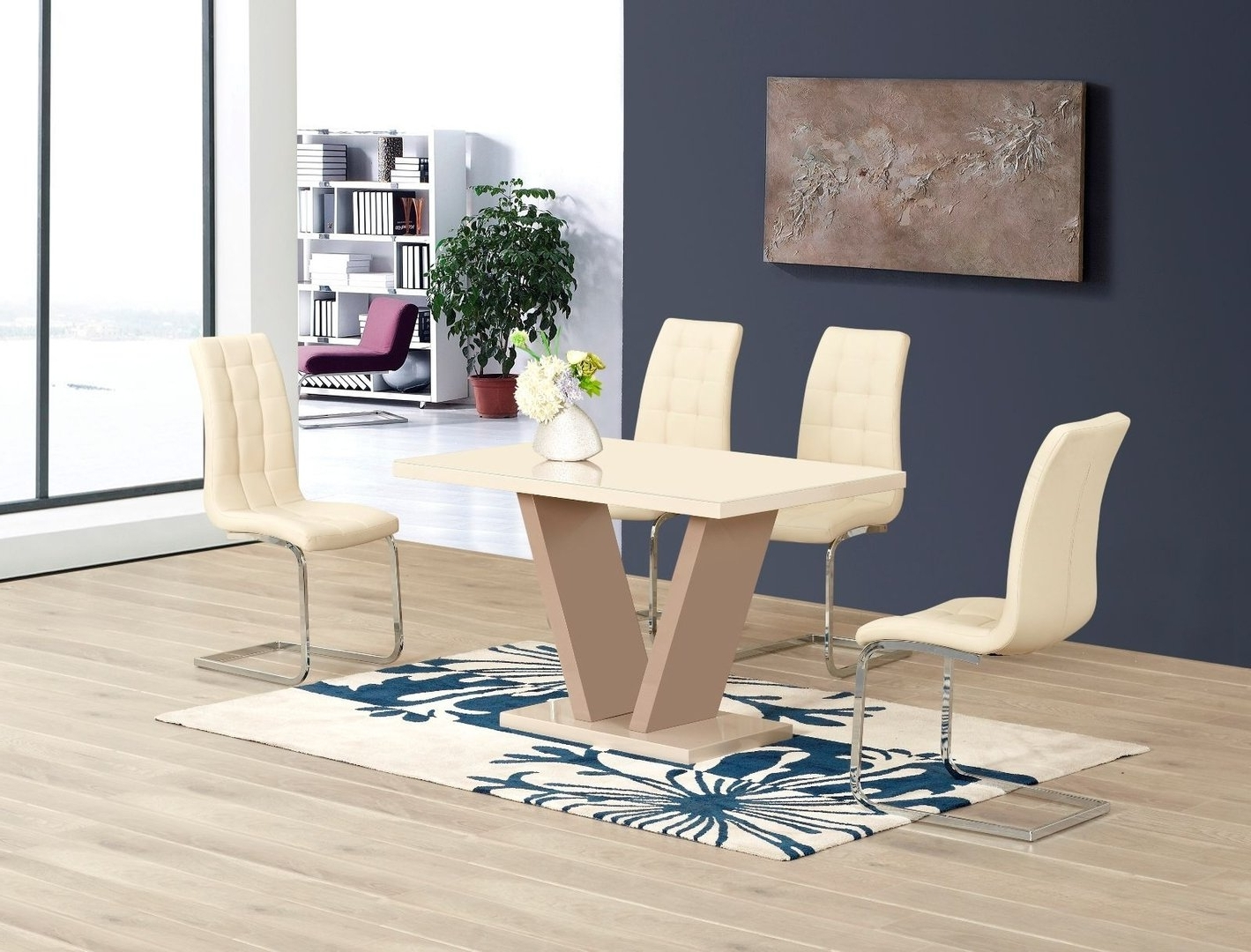 Most Popular High Gloss Dining Tables Sets Regarding Cream High Gloss Glass Dining Table And 6 Chairs – Homegenies (View 4 of 25)
