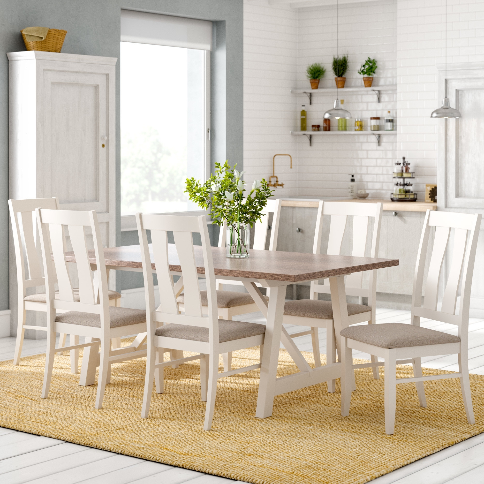 Most Popular Laurel Foundry Lombardy Dining Table And 6 Chairs & Reviews Inside Wood Dining Tables And 6 Chairs (View 8 of 25)
