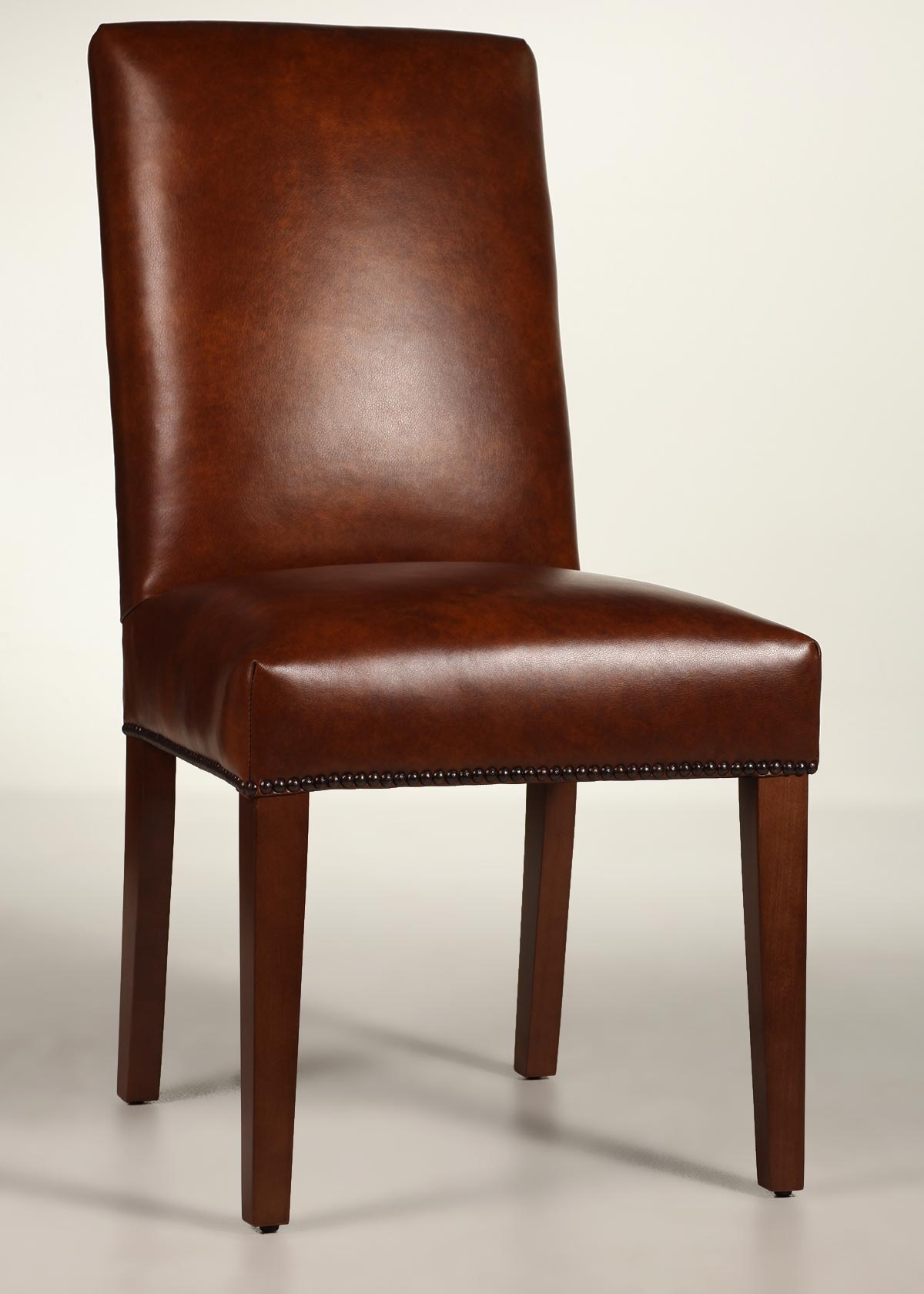 Most Popular Leather Dining Chairs Regarding Straight Back Leather Dining Chair With Tapered Legs (View 21 of 25)