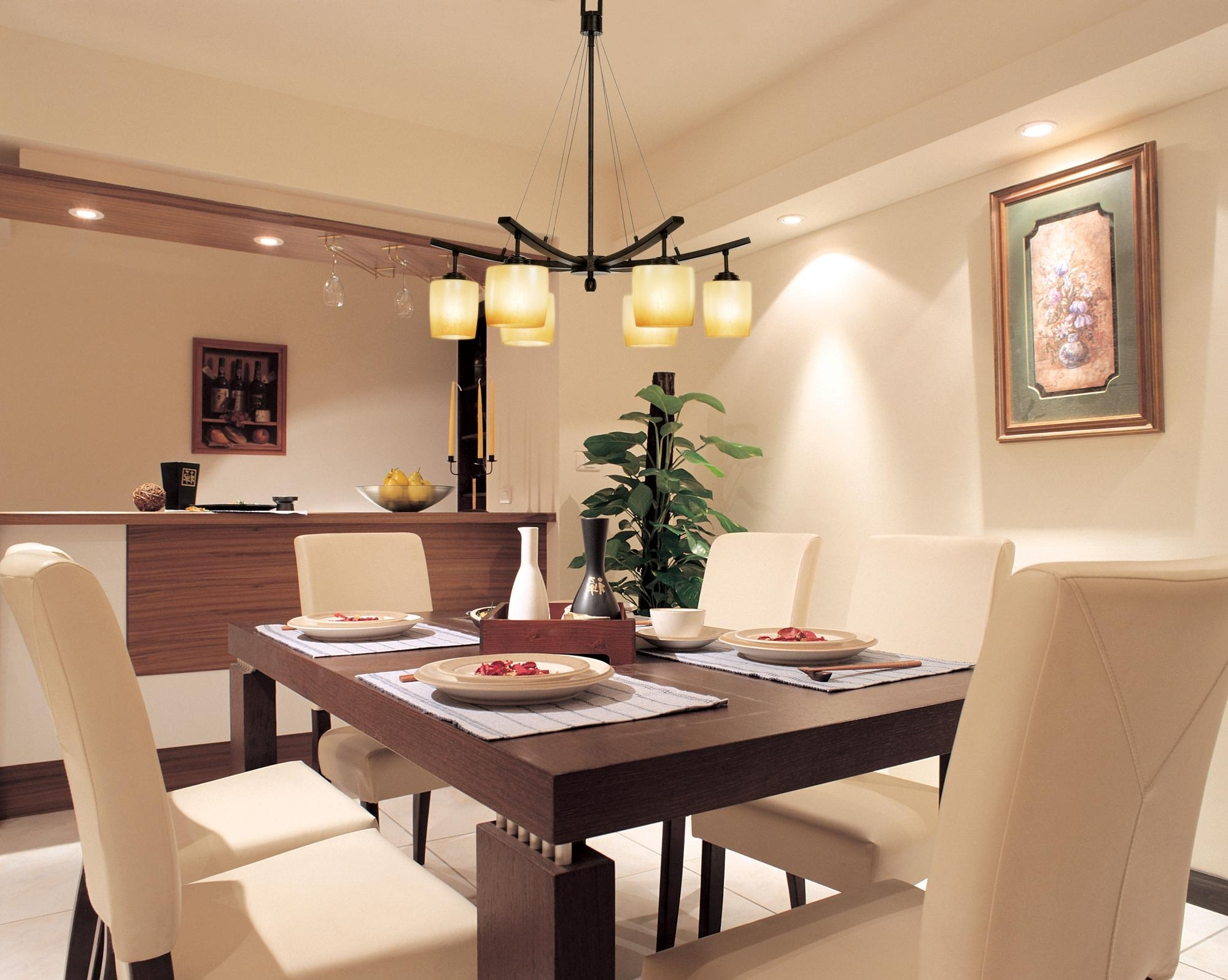 Most Popular Lighting For Dining Tables With Regard To Dining Room Living Room And Dining Room Lighting Dining Table (View 17 of 25)