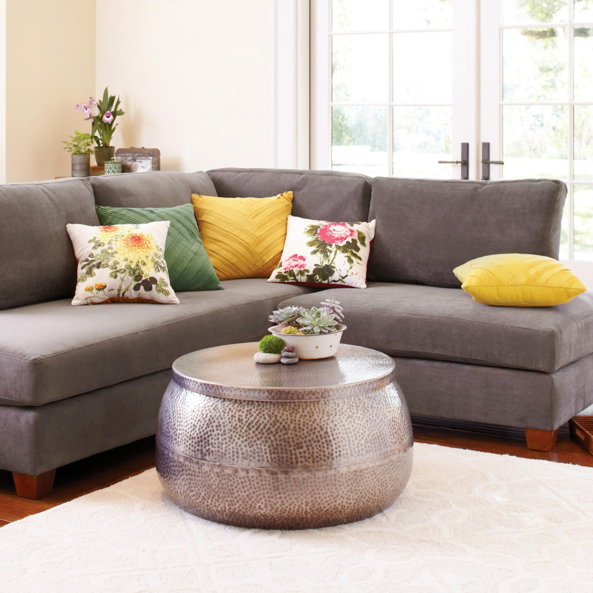 Most Popular Love The Center Table And Fun Colors Of The Throw Pillows! Charcoal Pertaining To Wyatt 6 Piece Dining Sets With Celler Teal Chairs (View 11 of 25)