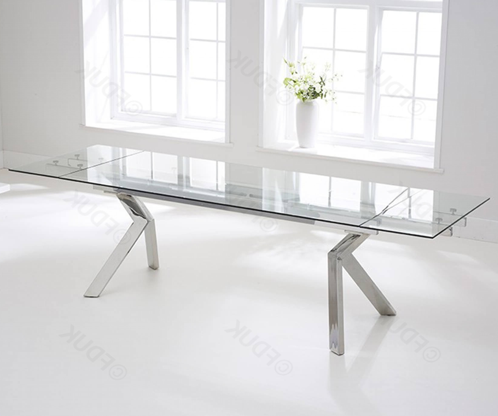 Most Popular Mark Harris Palazzo Glass Extending Dining Table Only Fduk Best Price  Guarantee We Will Beat Our Competitors Price! Give Our Sales Team A Call On  0116 Pertaining To Glass Extending Dining Tables (View 18 of 25)