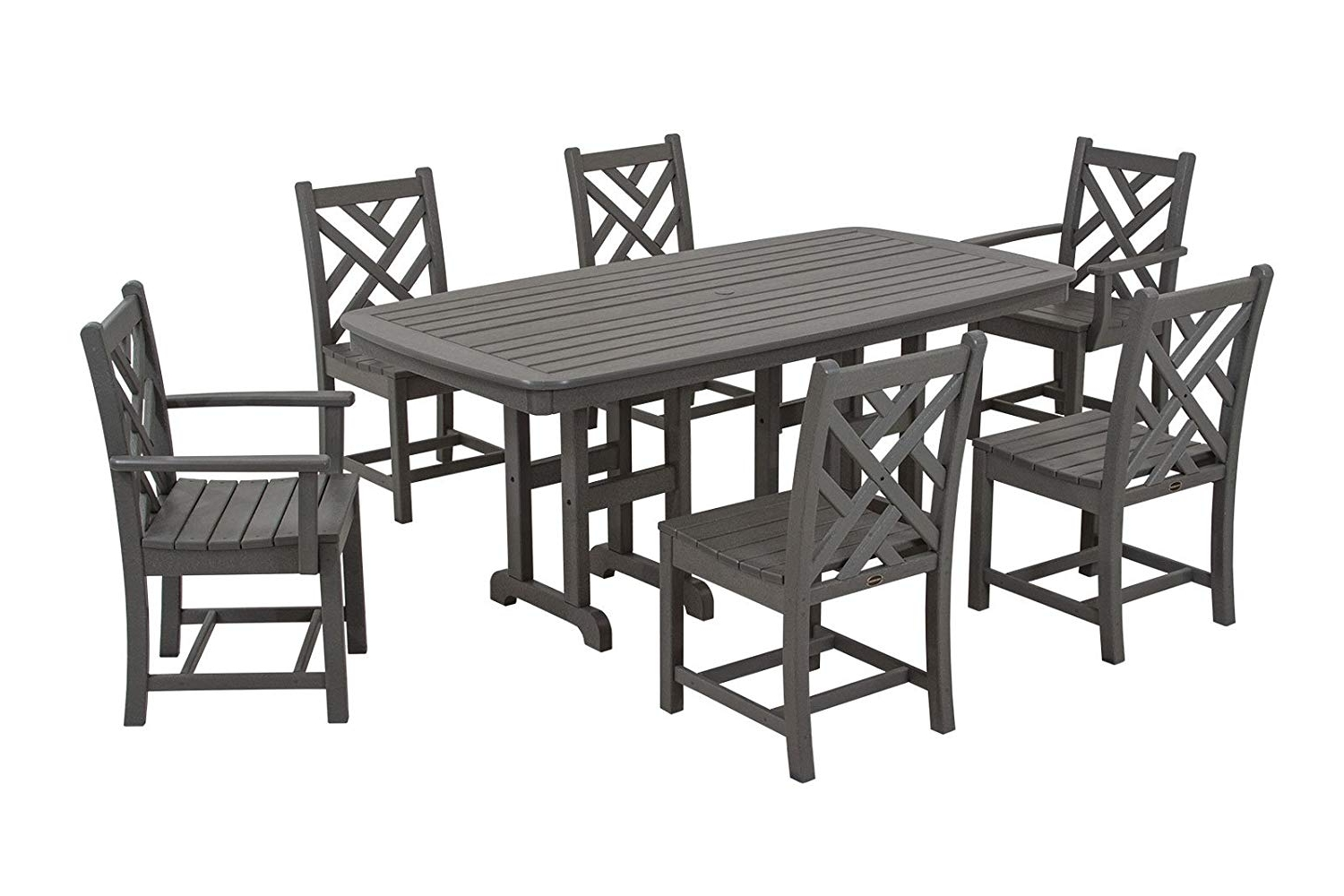 Most Popular Market 7 Piece Counter Sets For Amazon : Polywood Pws121 1 Gy Chippendale 7 Piece Dining Set (View 15 of 25)