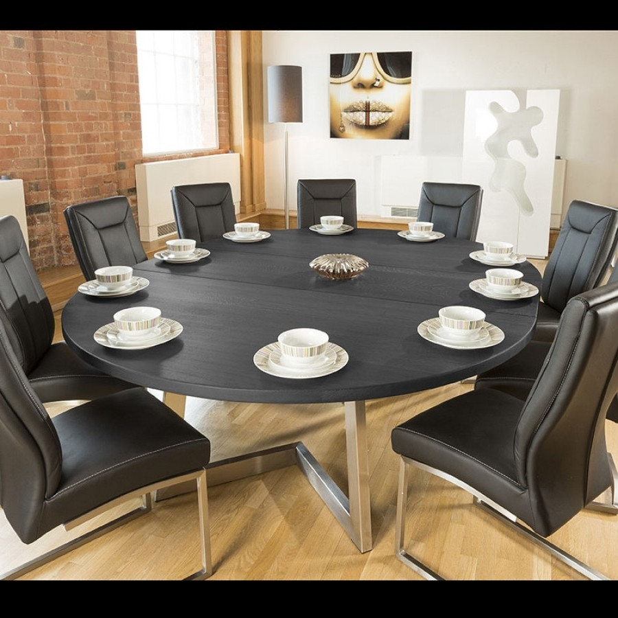 Most Popular Massive 180 230Cm Extending Luxury Round / Oval Dining Table Oak Inside Extending Black Dining Tables (View 17 of 25)