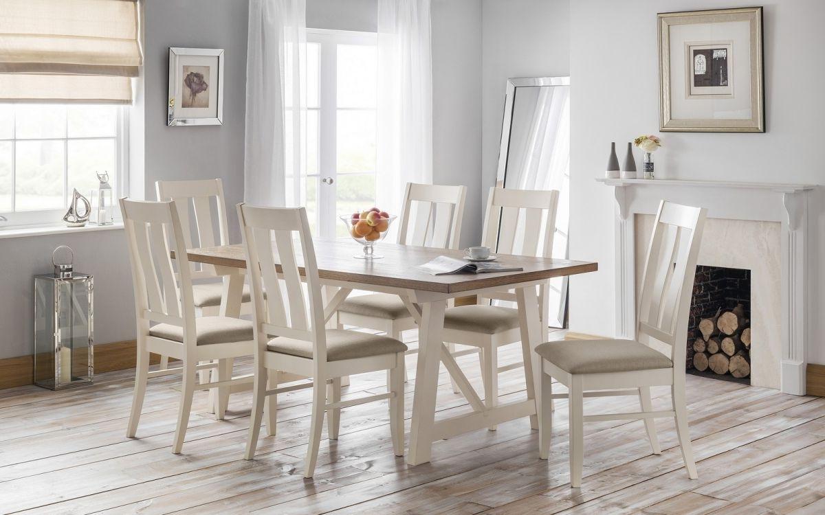 Most Popular Oak 6 Seater Dining Tables Regarding Julian Bowen Pembroke Ivory Welsh Oak 6 Seater Dining Set (View 10 of 25)