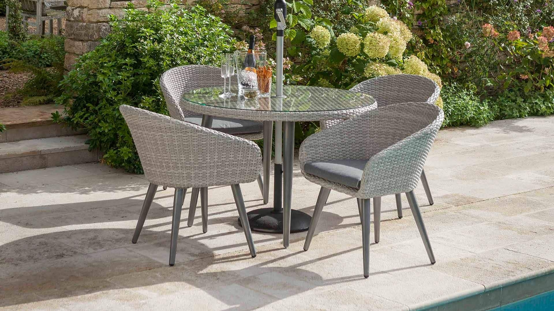 Most Popular Outdoor Sienna Dining Tables In Sienna 4 Seat Round Dining Set Antique White – Sienna – Wicker (View 19 of 25)
