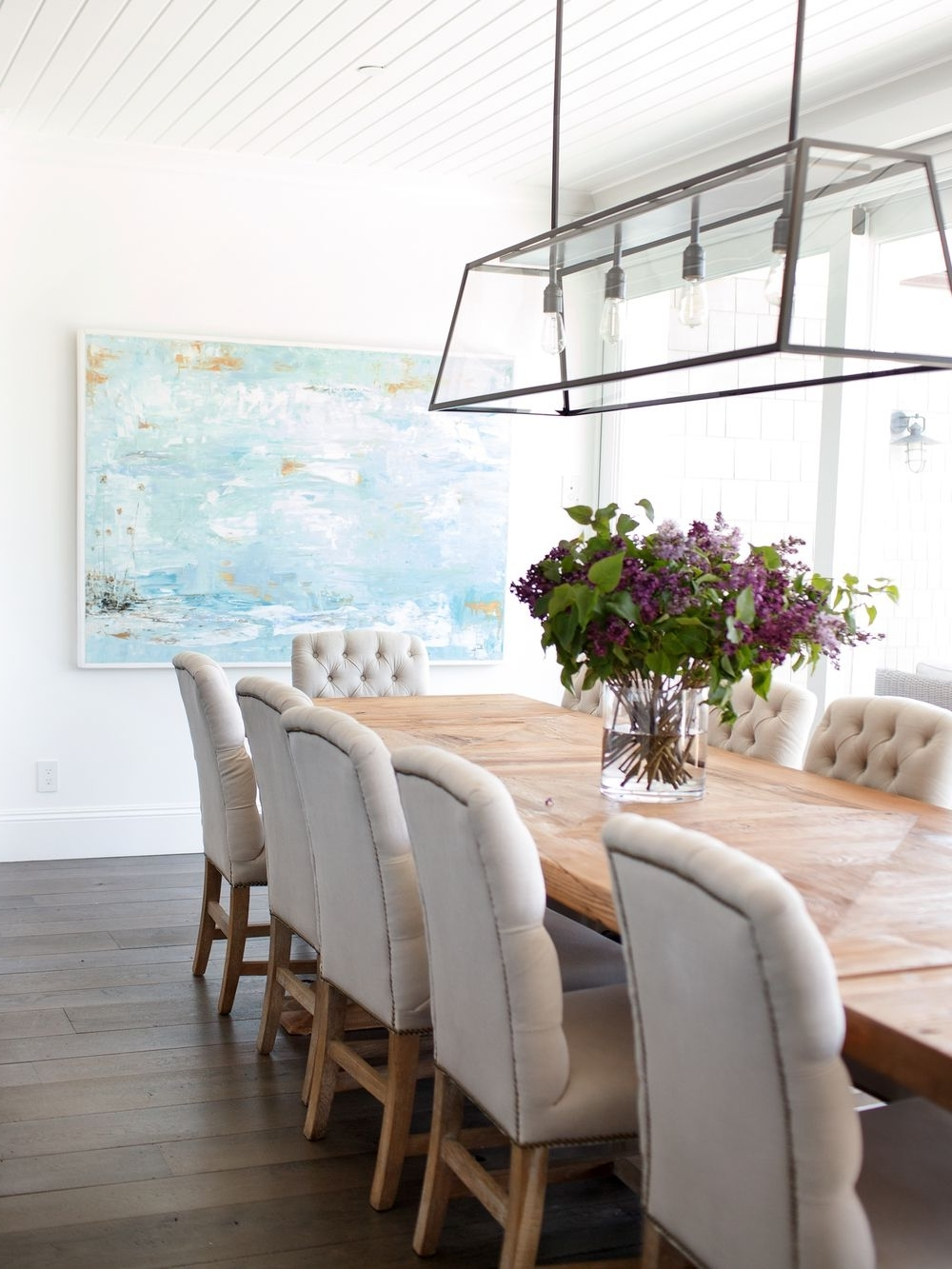 Most Popular Over Dining Tables Lights With Beachy Dining Room Beadboard Ceiling, Linear Dining Room Light (View 7 of 25)