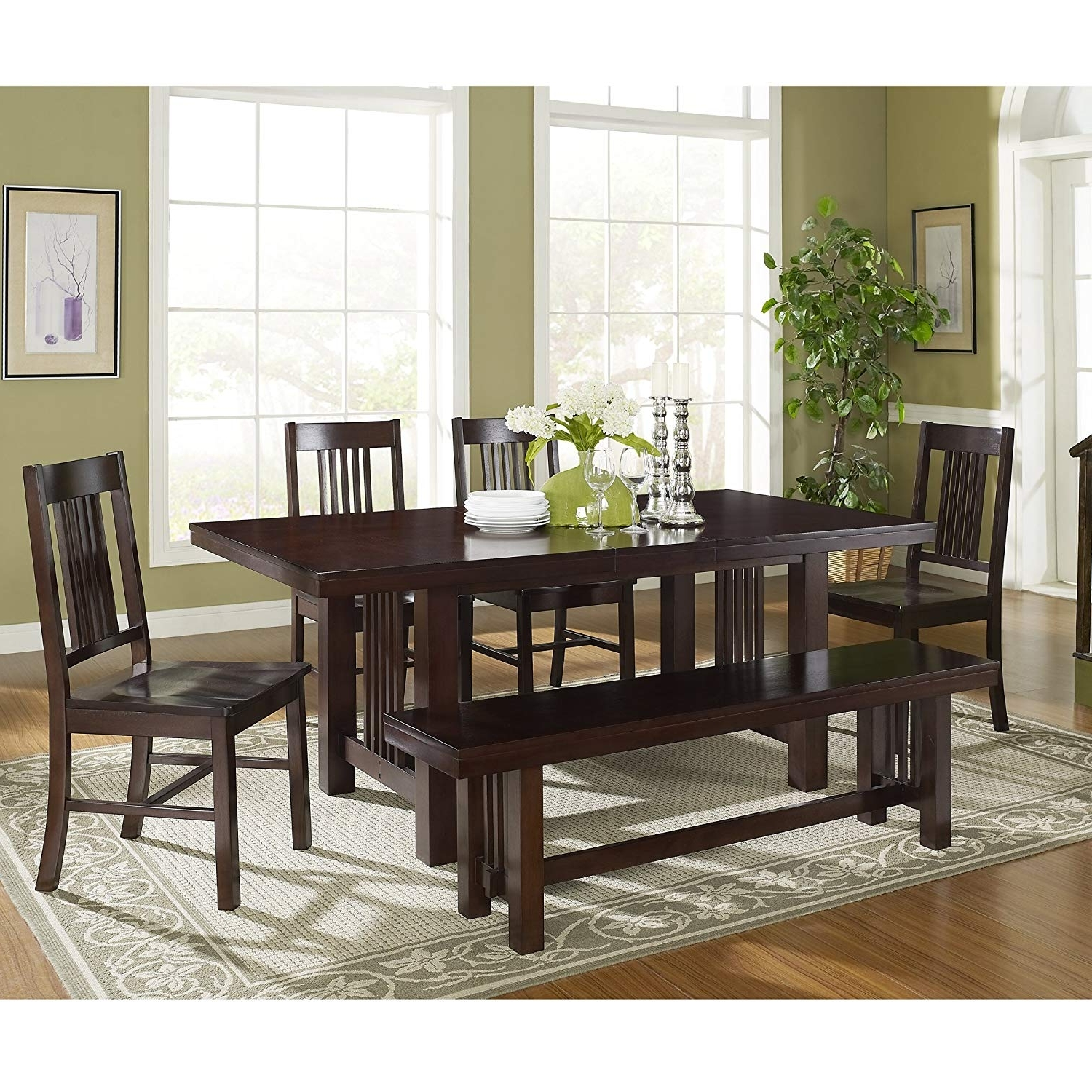 Most Popular Patterson 6 Piece Dining Sets Pertaining To Amazon – 6 Piece Solid Wood Dining Set, Cappuccino – Table Benches (View 15 of 25)