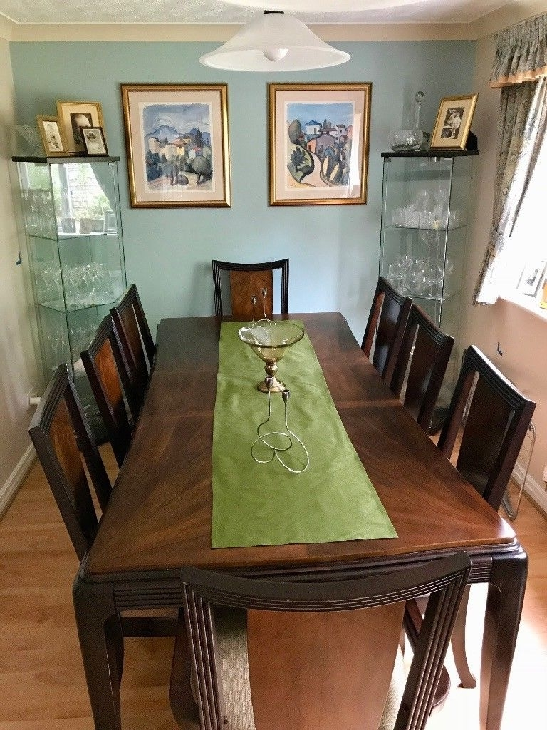 Most Popular Price Reduced! 8 Seater Dark Wood Dining Table And Chair Set (View 16 of 25)