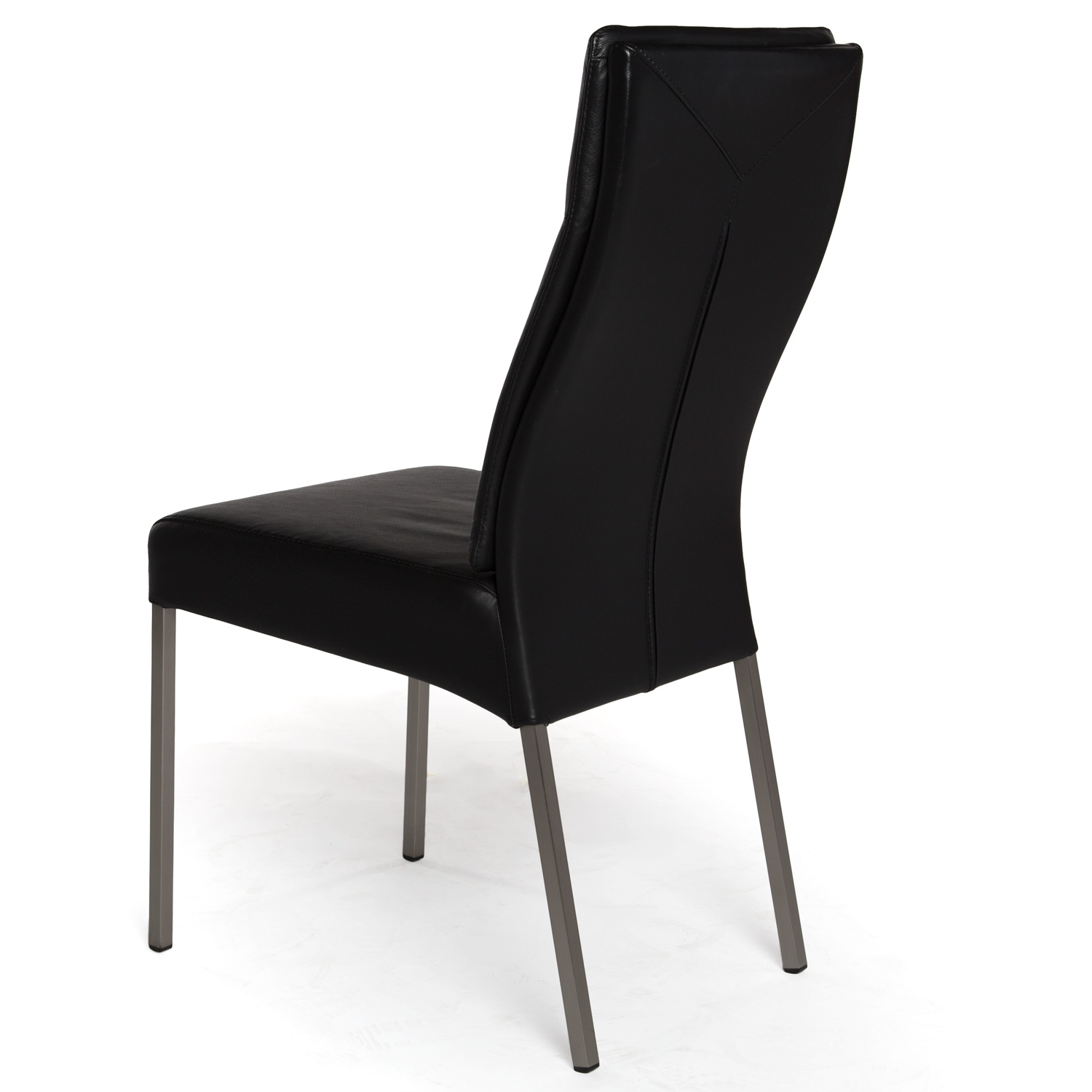 Most Popular Real Leather Dining Chair In Black Inside Leather Dining Chairs (View 17 of 25)