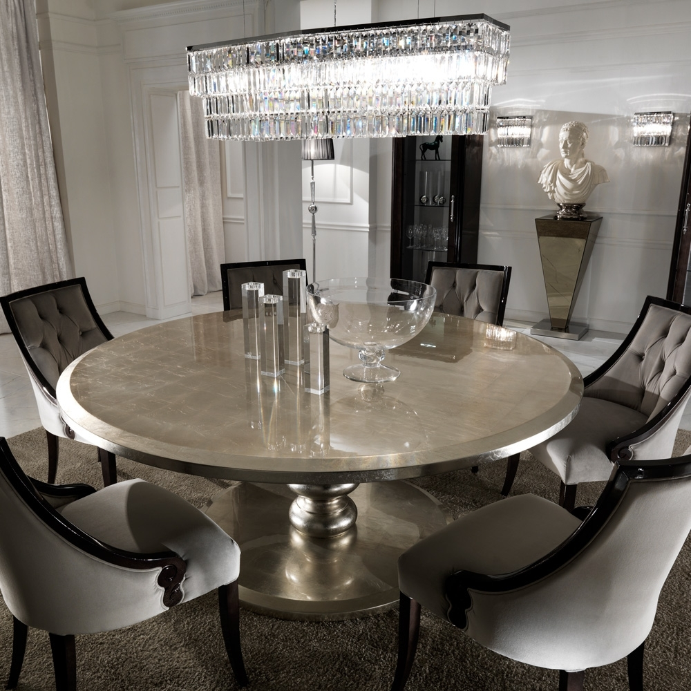 Most Popular Round Dining Tables Within Large Round Italian Champagne Leaf Dining Table And Chairs Set (View 6 of 25)