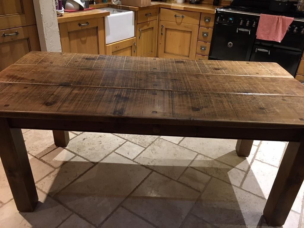 Most Popular Rustic Oak Dining Table & 6 Chairs (Langhorns, Chester) (View 5 of 25)