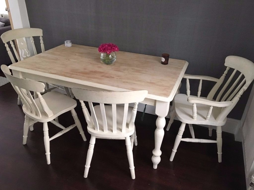 Most Popular Shabby Chic Farmhouse Dining Table Set & 4 Dining Chairs Solid Wood With Regard To Shabby Chic Cream Dining Tables And Chairs (View 18 of 25)
