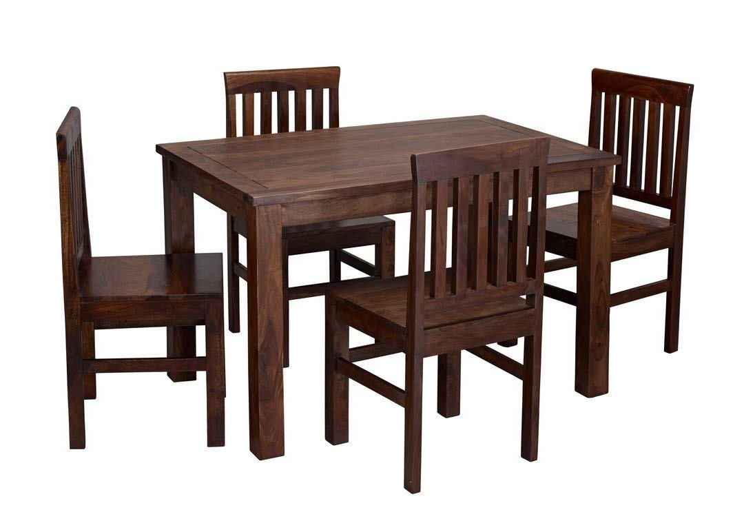 Most Popular Sheesham Dining Tables And 4 Chairs Inside Jaipur Sheesham Wood Dining Table With 4 Chairs: Amazon.co (View 18 of 25)
