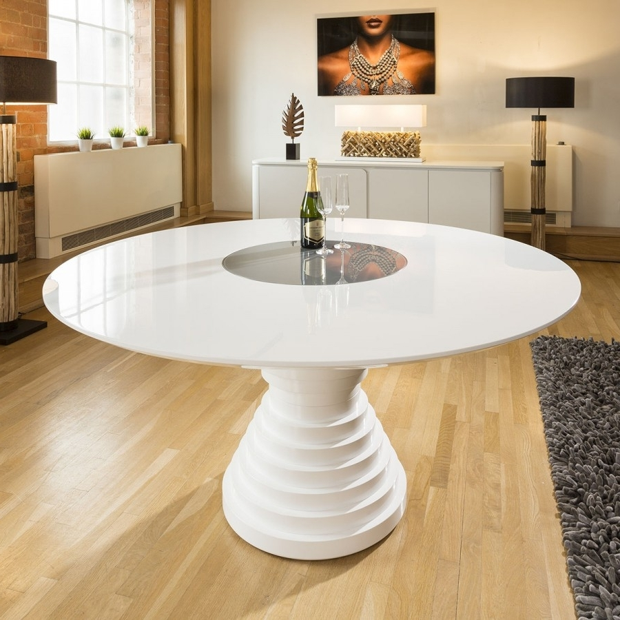 Most Popular Stunning Large Round White Gloss Dining Table With Glass Insert With Regard To Large White Gloss Dining Tables (View 16 of 25)