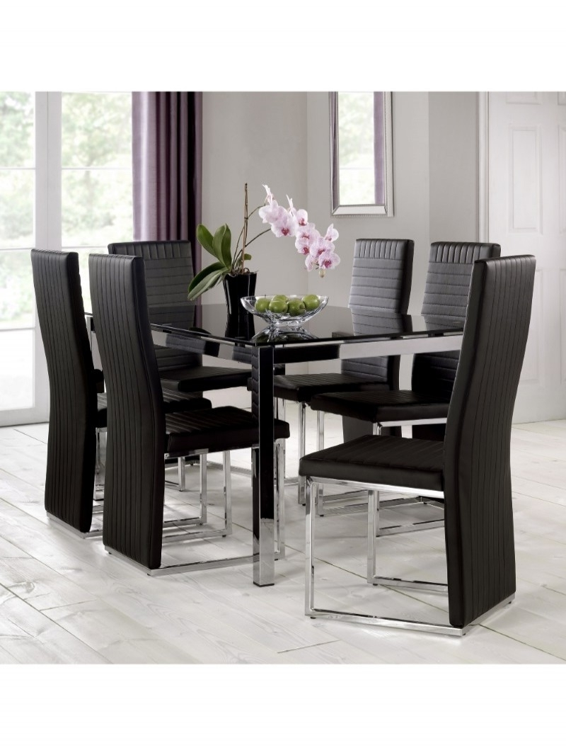 Most Popular Tempo Glass Dining Table And 4 Dining Chairs Tem901 (Gallery 19 of 25)
