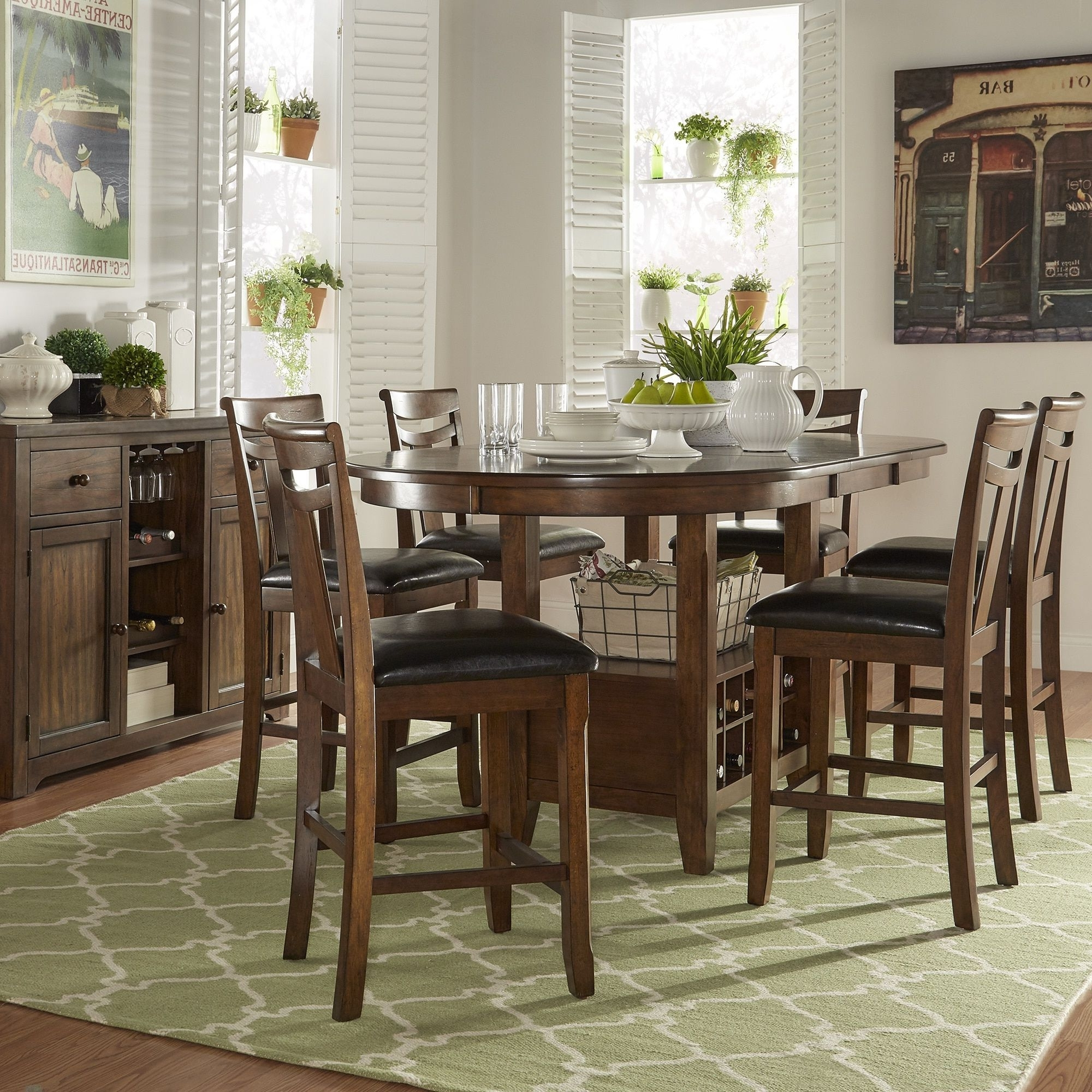 Most Popular Tuscany Brown Wood Wine Rack Counter Height Extending Dining Table Intended For Extending Dining Tables Set (Gallery 25 of 25)