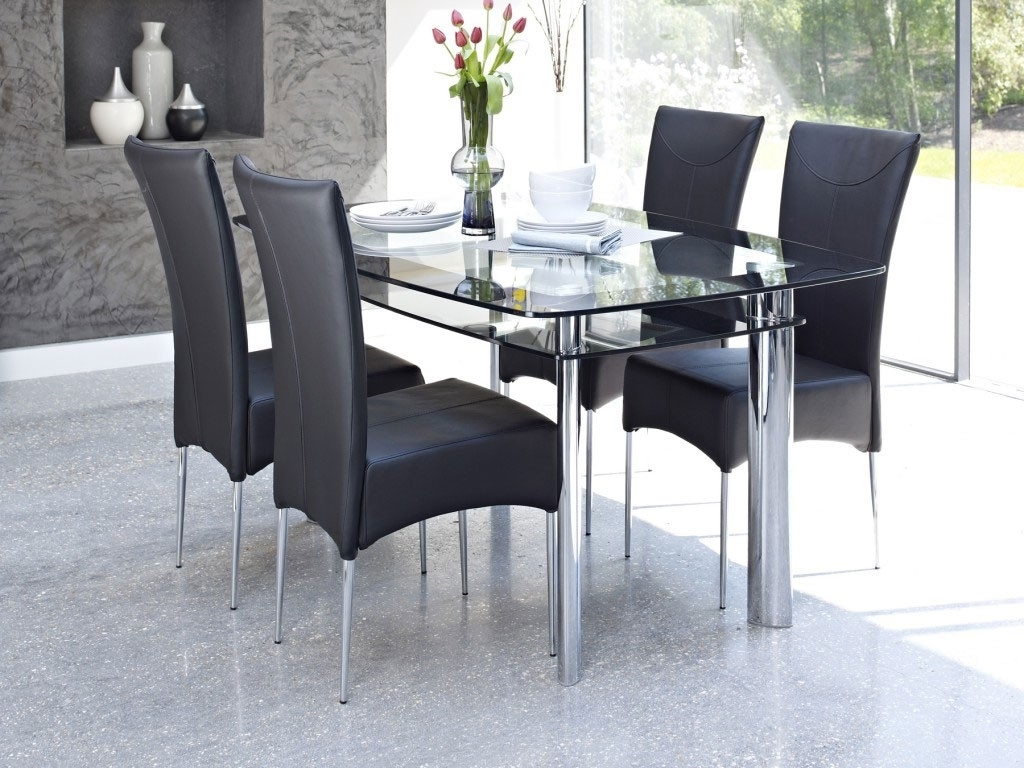 Most Recent 4 Seater Dining Table Sets – Dining Table & Sets – Dining Regarding Mirror Glass Dining Tables (View 13 of 25)