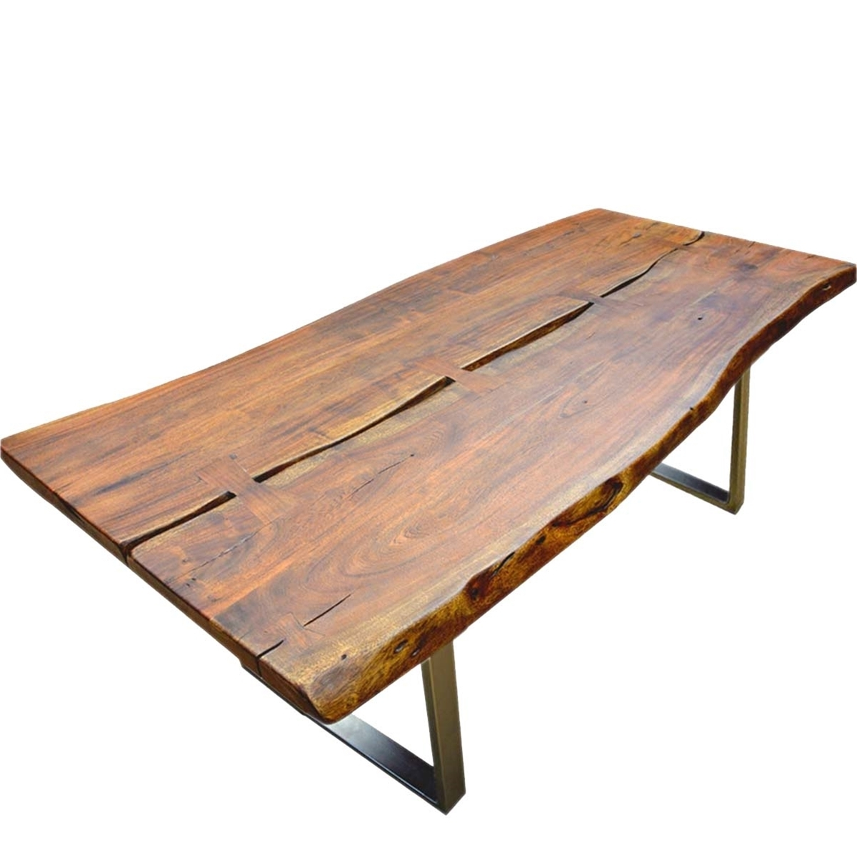 Most Recent Acacia Dining Tables Intended For Live Edge Acacia Wood & Iron Rustic Large Dining Table (View 7 of 25)