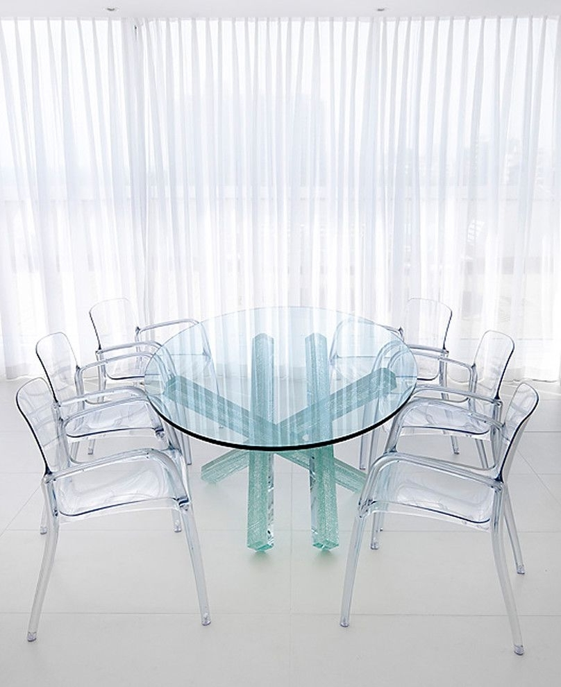 Most Recent Acrylic Round Dining Tables Throughout Bright Acrylic Chair Vogue Other Metro Contemporary Dining Room (View 7 of 25)