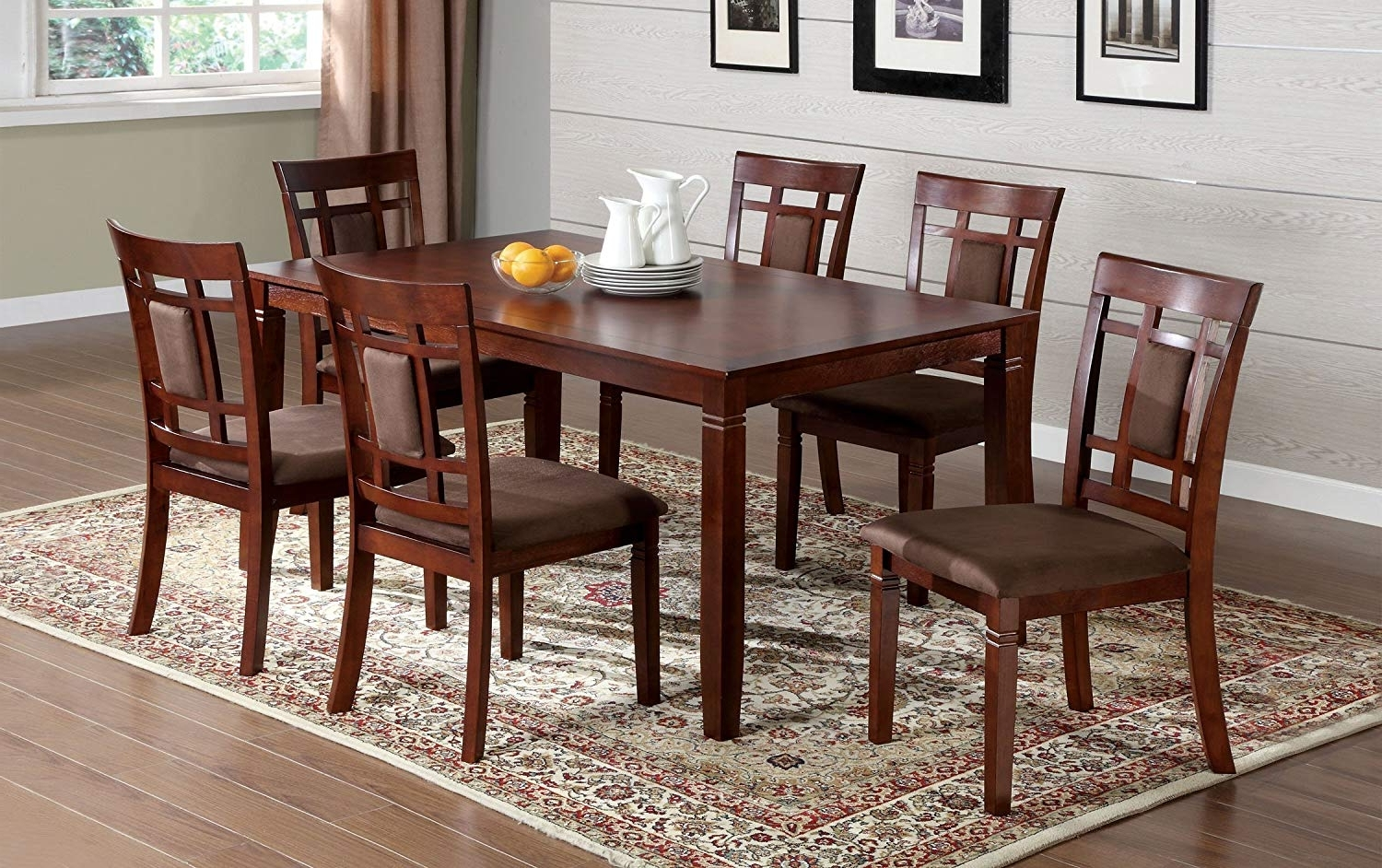 Most Recent Amazon – Furniture Of America Cartiere 7 Piece Dining Table Set With Regard To Dark Wood Dining Tables 6 Chairs (View 9 of 25)