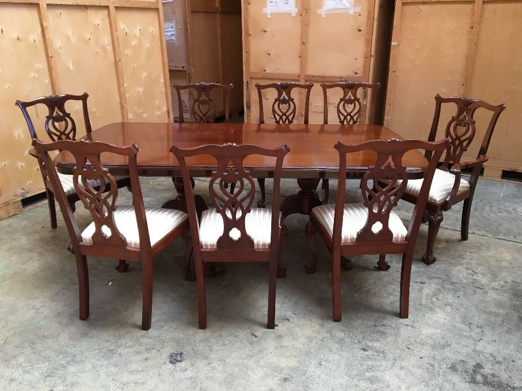 Most Recent Antique Vintage Georgian Style Mahogany Large Dining Table & 8 Inside Dining Tables 8 Chairs (View 4 of 25)