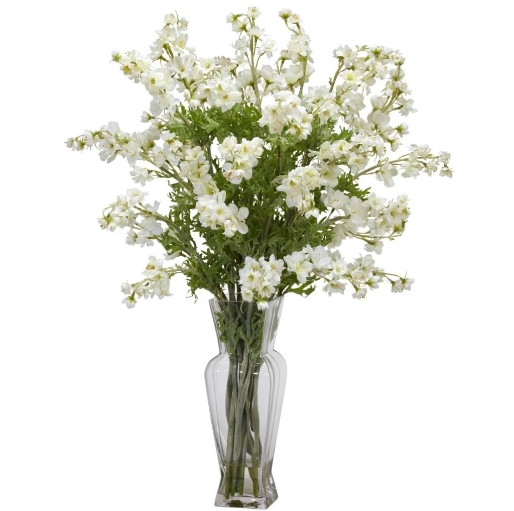 Most Recent Artificial Floral Arrangements For Dining Tables Pertaining To Home Decoration: Tall White Artificial Floral Arrangements (View 22 of 25)