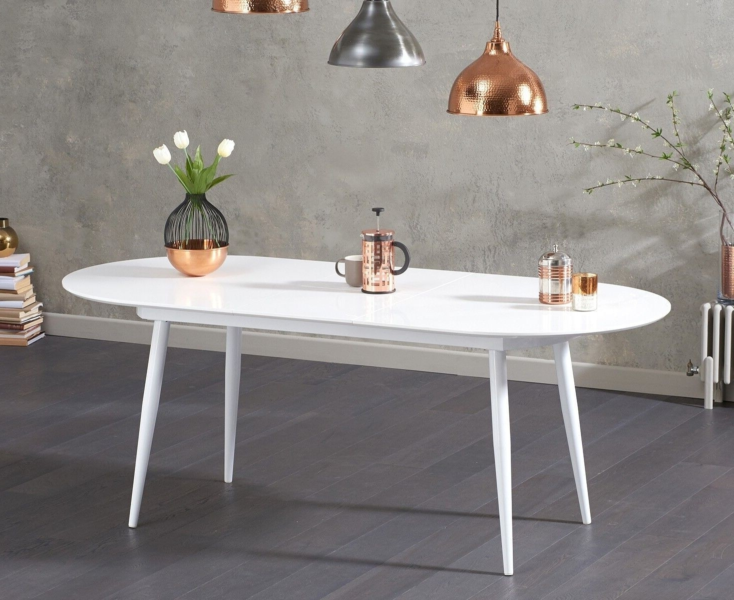 Most Recent Avril White Gloss Oval Extending Table 160Cm With Regard To White High Gloss Oval Dining Tables (View 11 of 25)