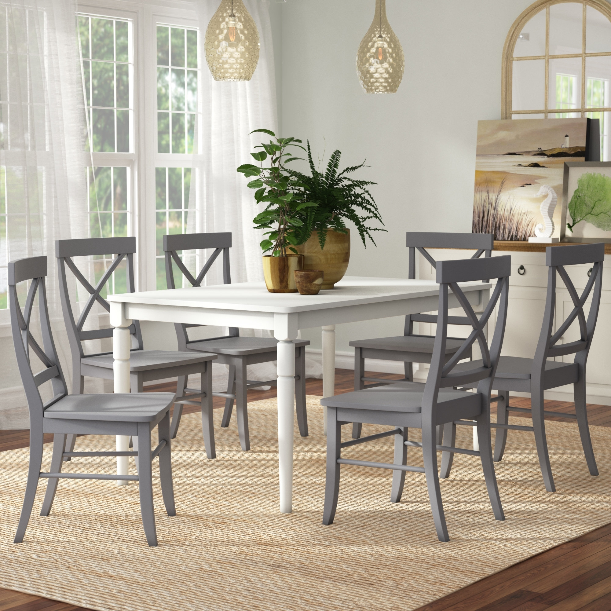 Most Recent Beachcrest Home Brookwood 7 Piece Dining Set & Reviews (View 17 of 25)