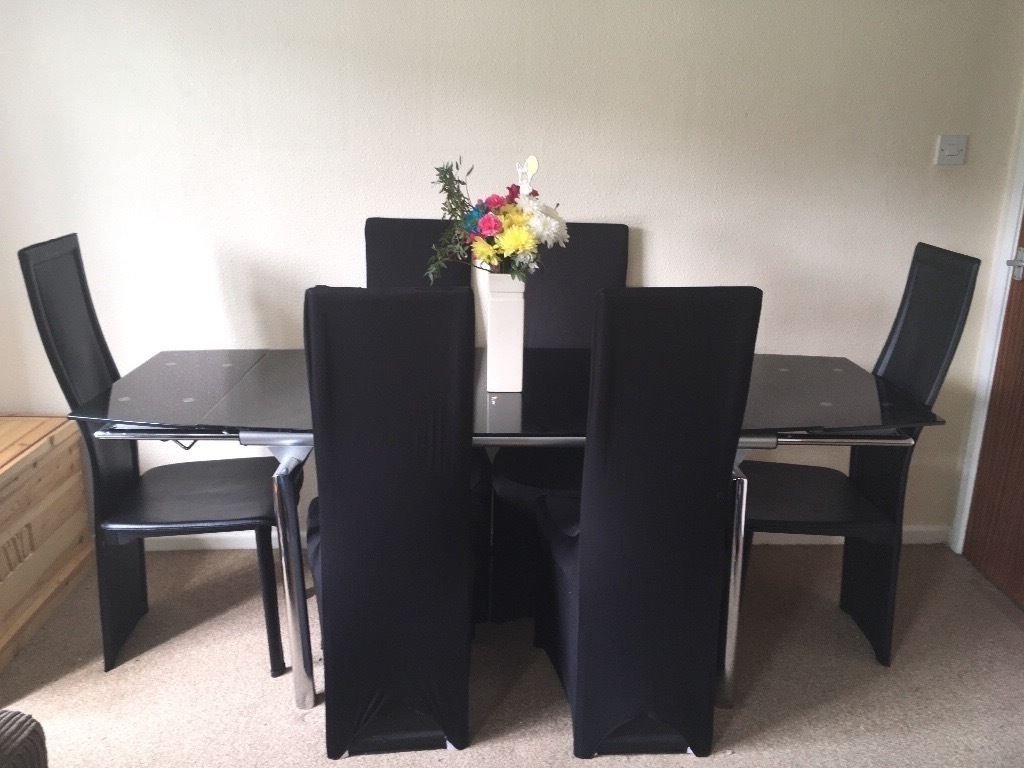 Most Recent Black Glass Dining Table With 6 Chairs, Table Cover And 4 Chair Pertaining To Black Glass Dining Tables With 6 Chairs (Gallery 19 of 25)