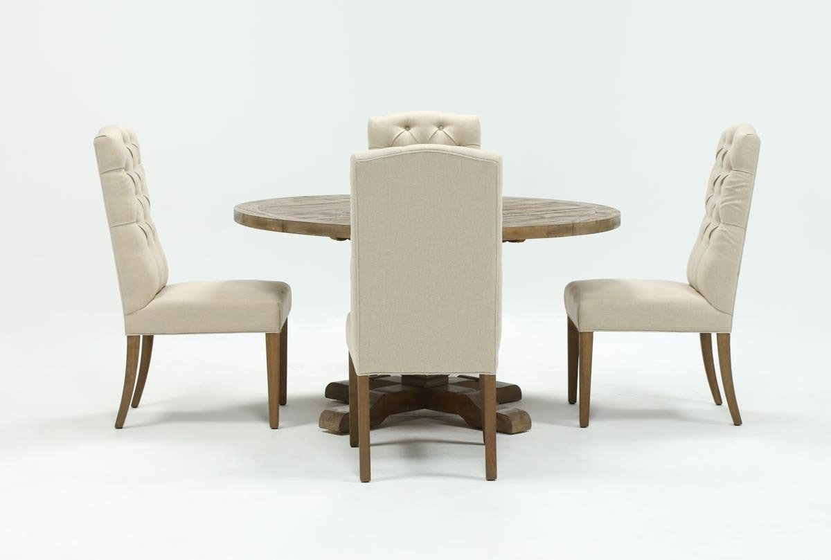 Most Recent Caden 5 Piece Round Dining Set With Upholstered Side Chairs (Gallery 7 of 25)