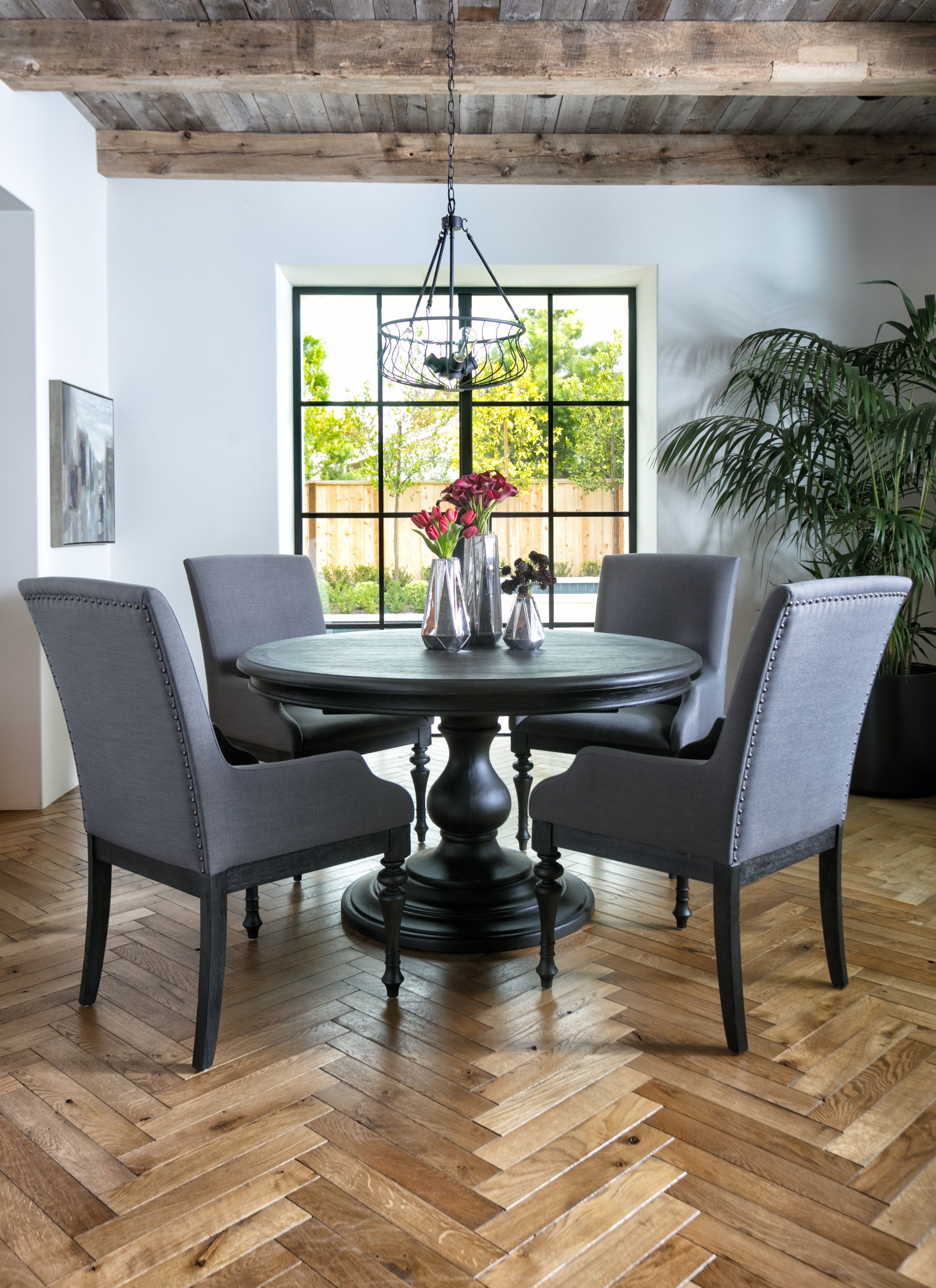 Most Recent Caira 7 Piece Rectangular Dining Sets With Upholstered Side Chairs Within Caira Black 5 Piece Round Dining Set With Diamond Back Side Chairs (View 13 of 25)