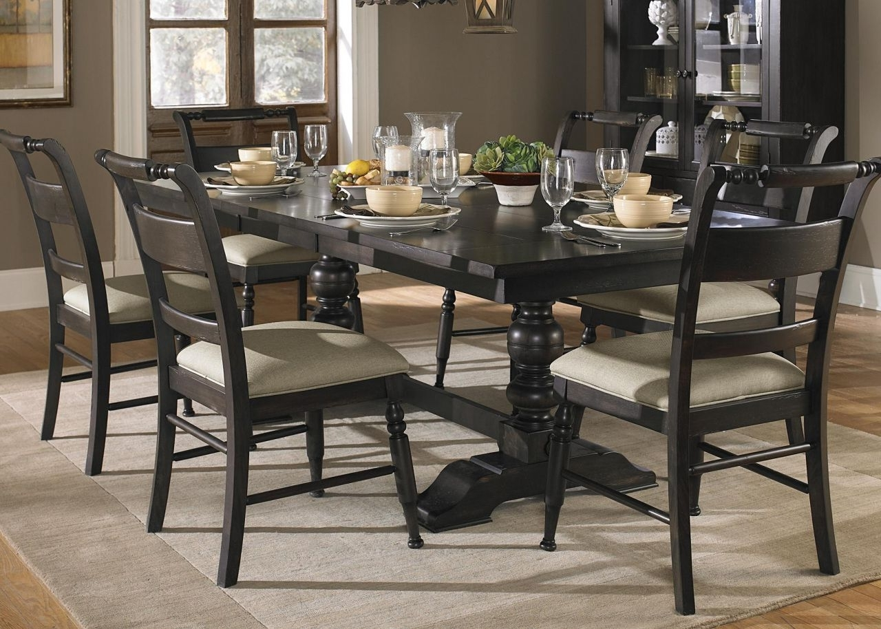 Most Recent Caira Black 7 Piece Dining Sets With Upholstered Side Chairs Throughout Pinayuw Lastnight On Modern Table Design (Gallery 5 of 25)