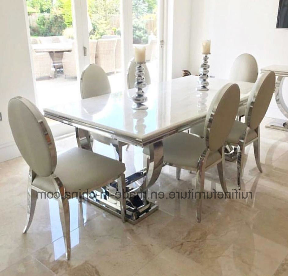 Most Recent China Modern 2 Meter 8 Seater Chrome Stainless Steel Base Ivory Regarding Solid Marble Dining Tables (View 12 of 25)