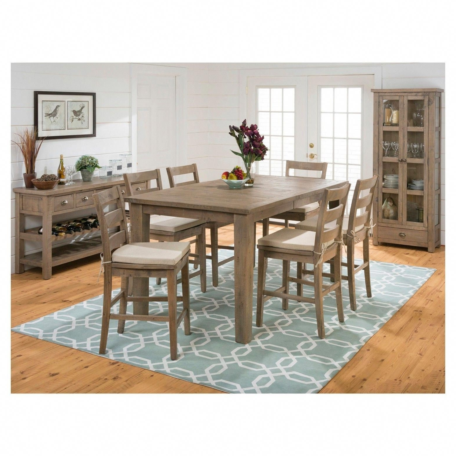 Most Recent Combining Casual Cottage Design With On Trend Distressing, Jofran's For Craftsman 9 Piece Extension Dining Sets With Uph Side Chairs (Gallery 7 of 25)