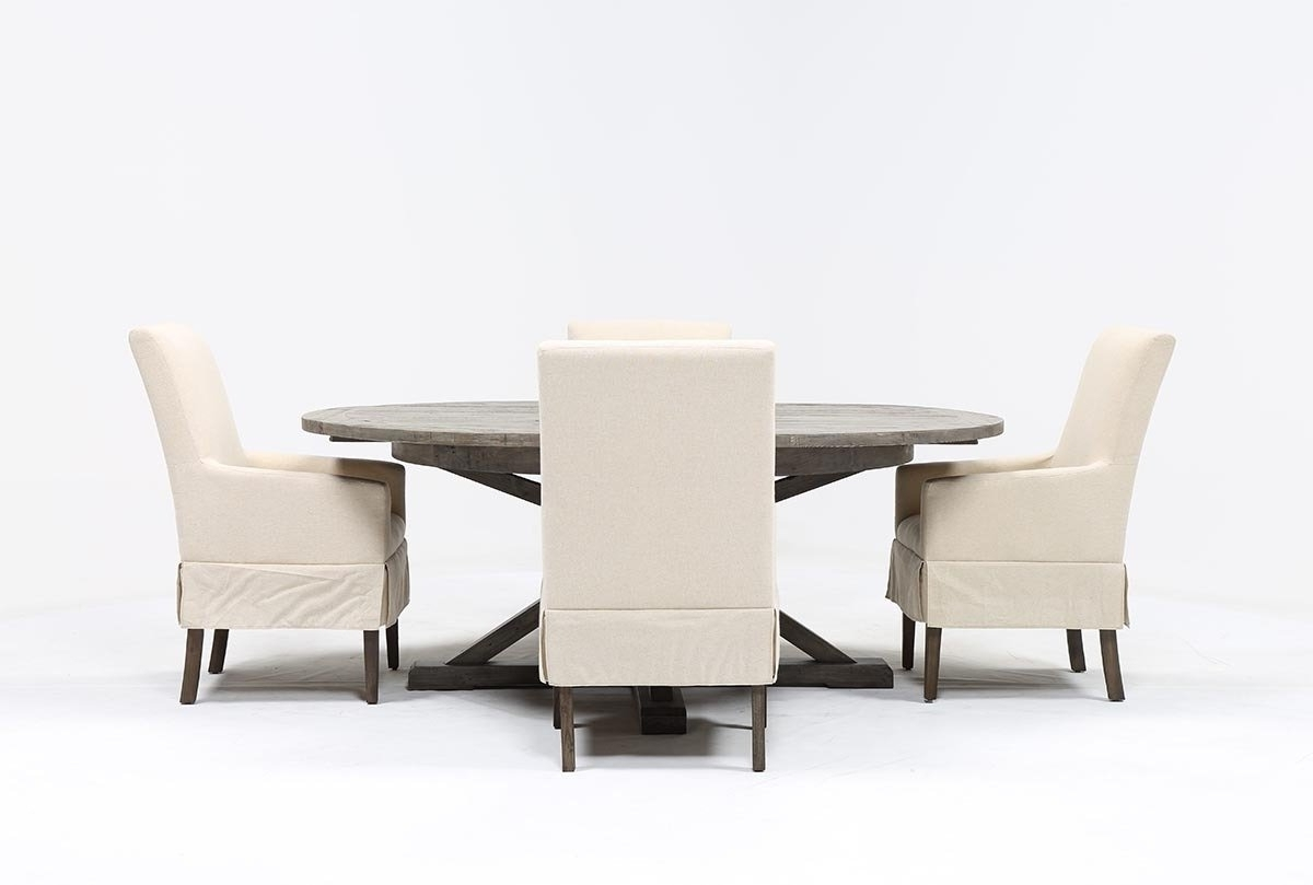Most Recent Combs 5 Piece Dining Set W/ Mindy Slipcovered Chairs (View 5 of 25)