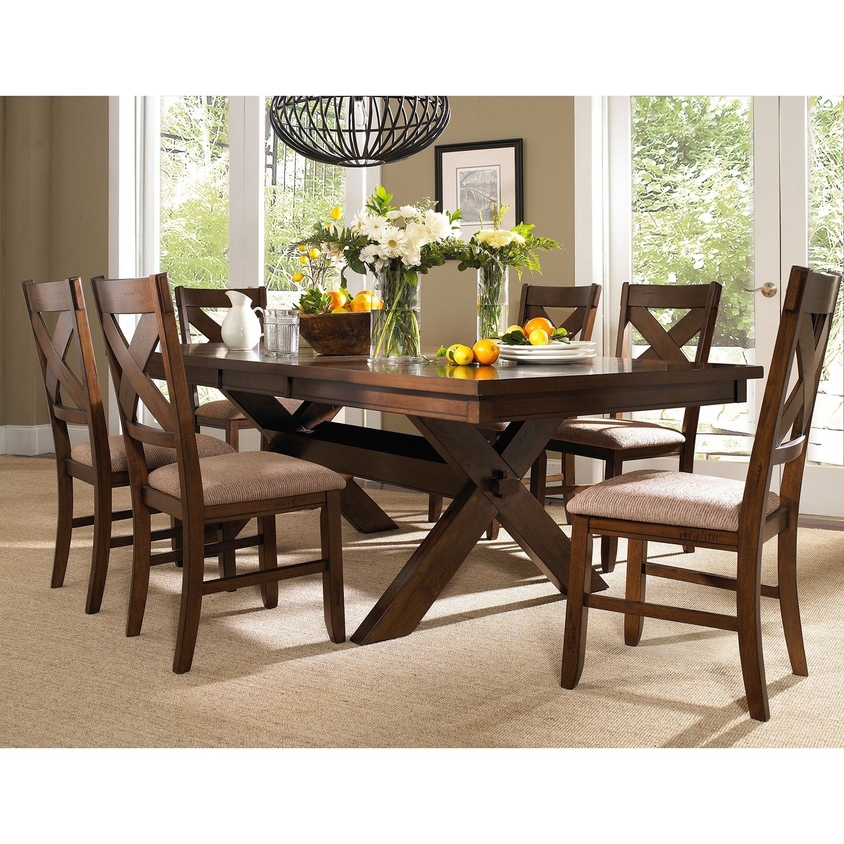Most Recent Craftsman 7 Piece Rectangle Extension Dining Sets With Arm & Side Chairs With 7 Piece Solid Wood Dining Set With Table And 6 Chairs (Dark Hazelnut (Gallery 1 of 25)