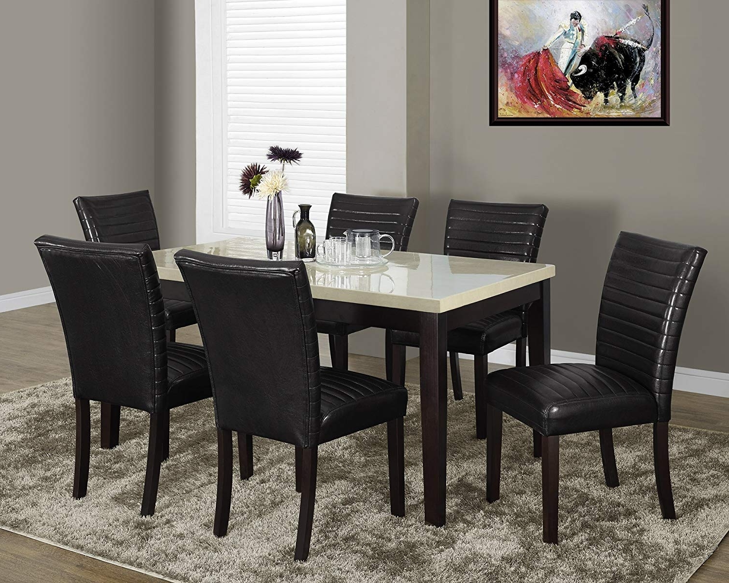 Most Recent Cream Lacquer Dining Tables In Amazon – Monarch Specialties Cream Lacquered Marble Look Dining (View 11 of 25)