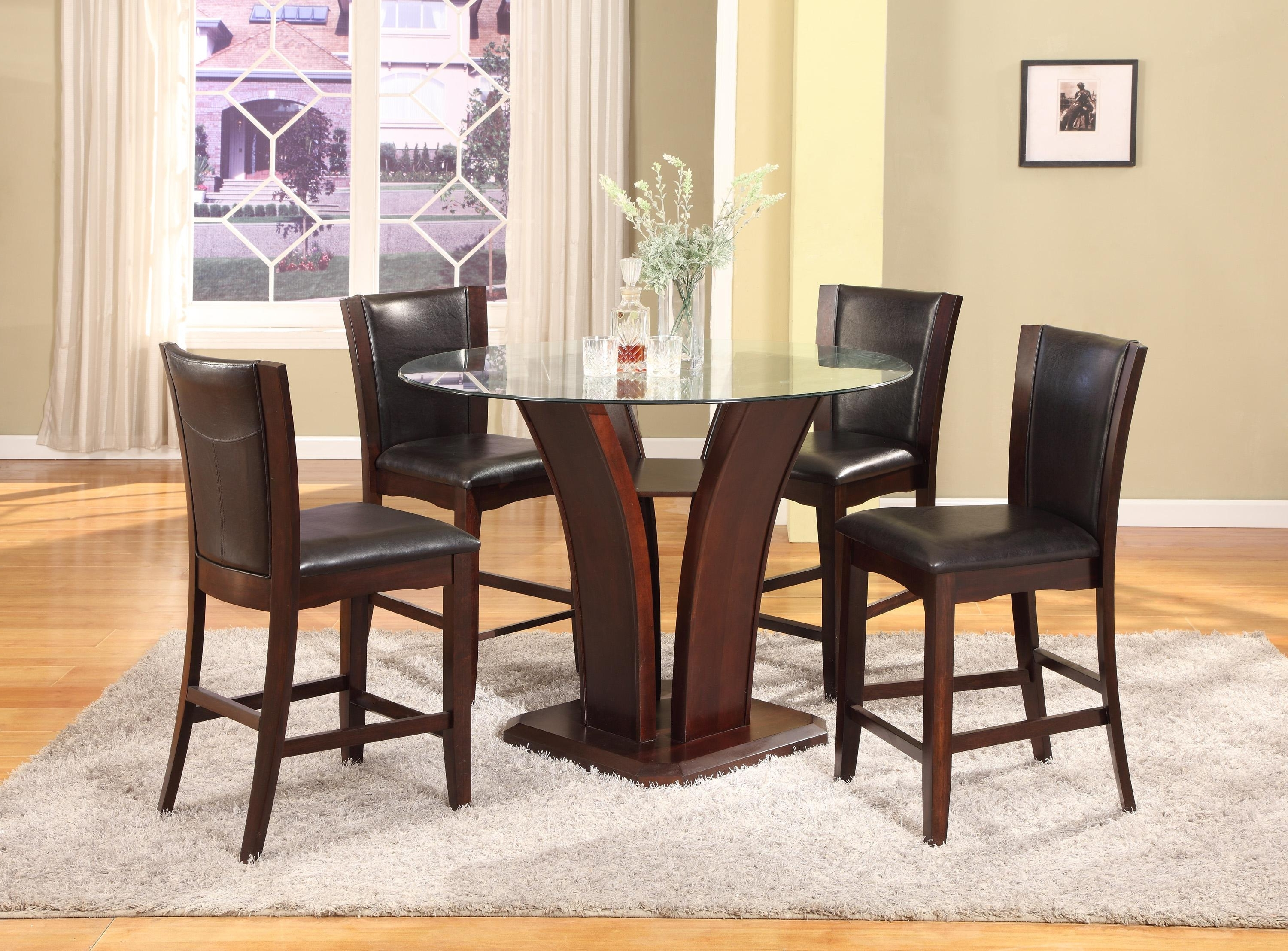 Most Recent Crown Mark Camelia Espresso 5 Piece Counter Height Table And Stool Regarding Hyland 5 Piece Counter Sets With Stools (View 13 of 25)