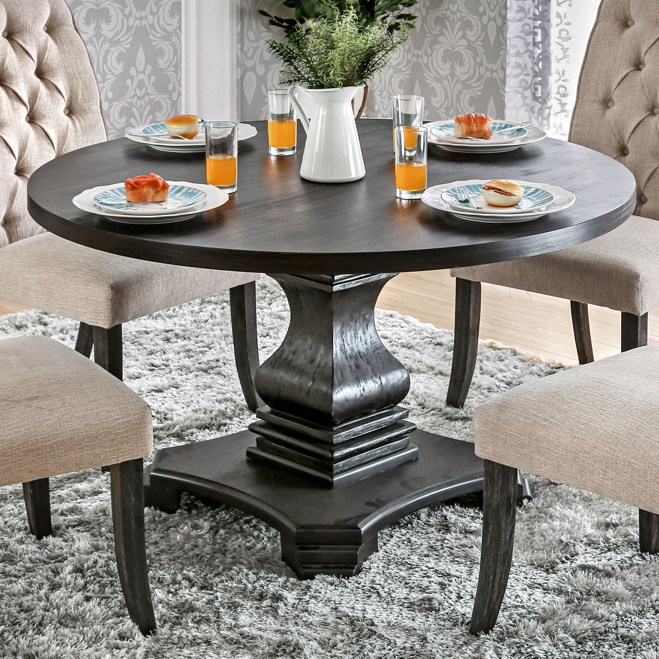Most Recent Dark Round Dining Tables With Regard To Shop Furniture Of America Lucena Antique Black Wood Traditional (View 10 of 25)