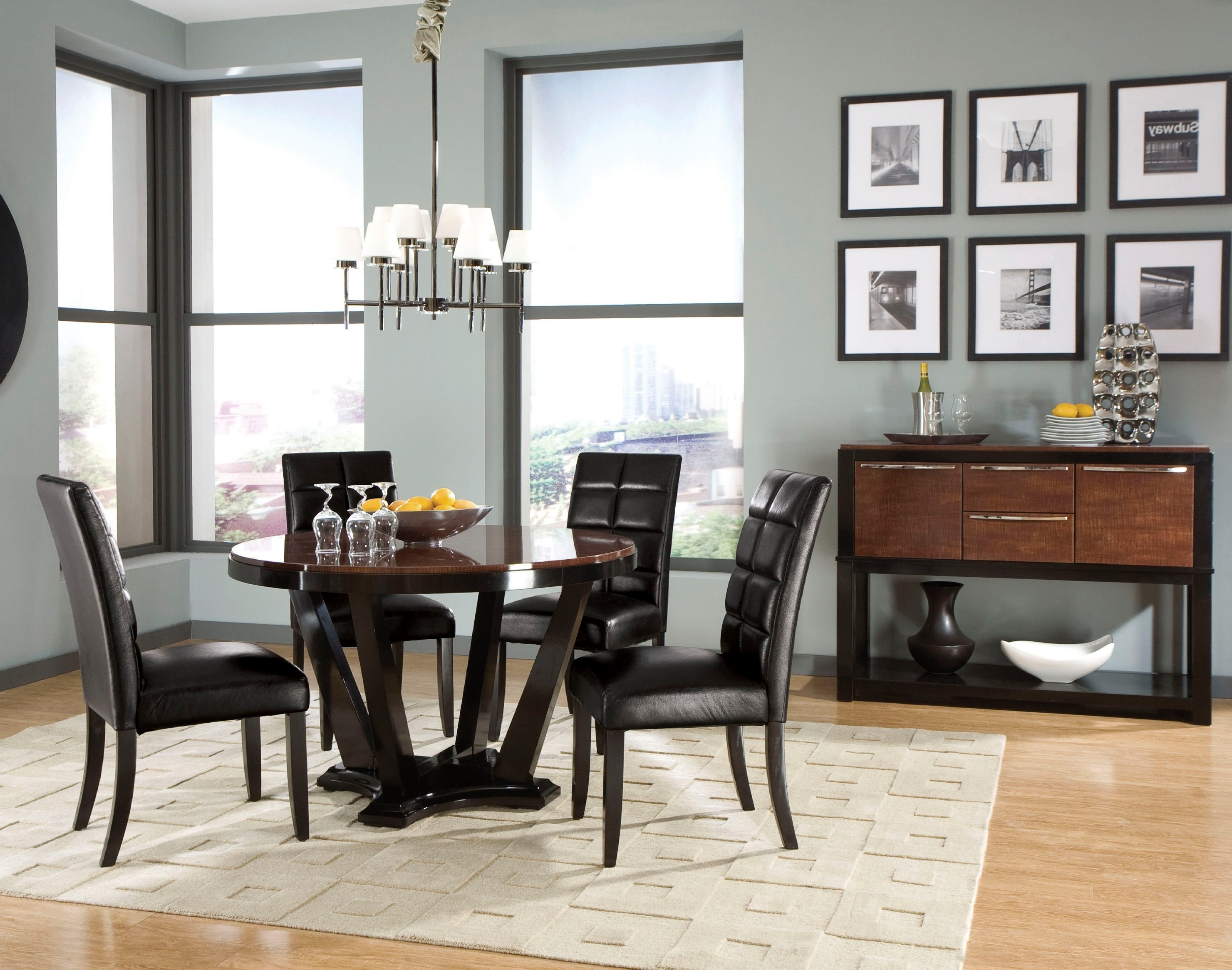 Most Recent Dark Wood Dining Tables And Chairs In Remarkable Round Two Tone High Gloss Finish Mahogany Wood (View 23 of 25)
