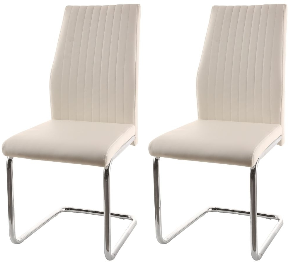 Most Recent Essen Cream Faux Leather Dining Chair With Chrome Legs (Pair) With Cream Faux Leather Dining Chairs (Gallery 21 of 25)
