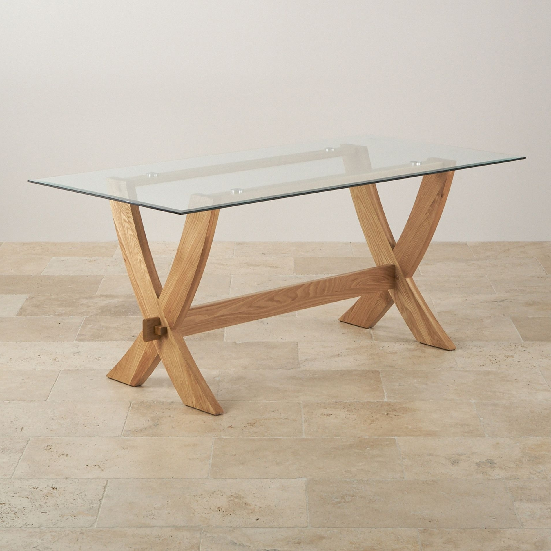 Most Recent Glass And Oak Dining Tables And Chairs With Regard To Reflection Glass Top And Natural Solid Oak 6Ft X 3Ft Crossed Leg (View 24 of 25)