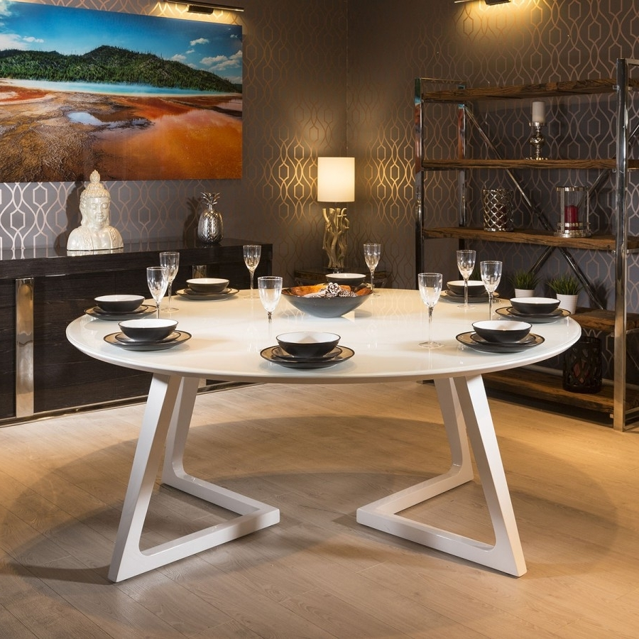 Most Recent Glass And White Gloss Dining Tables Intended For Quatropi Massive 180Cm Luxury Round Dining Table White Gloss Glass (View 18 of 25)