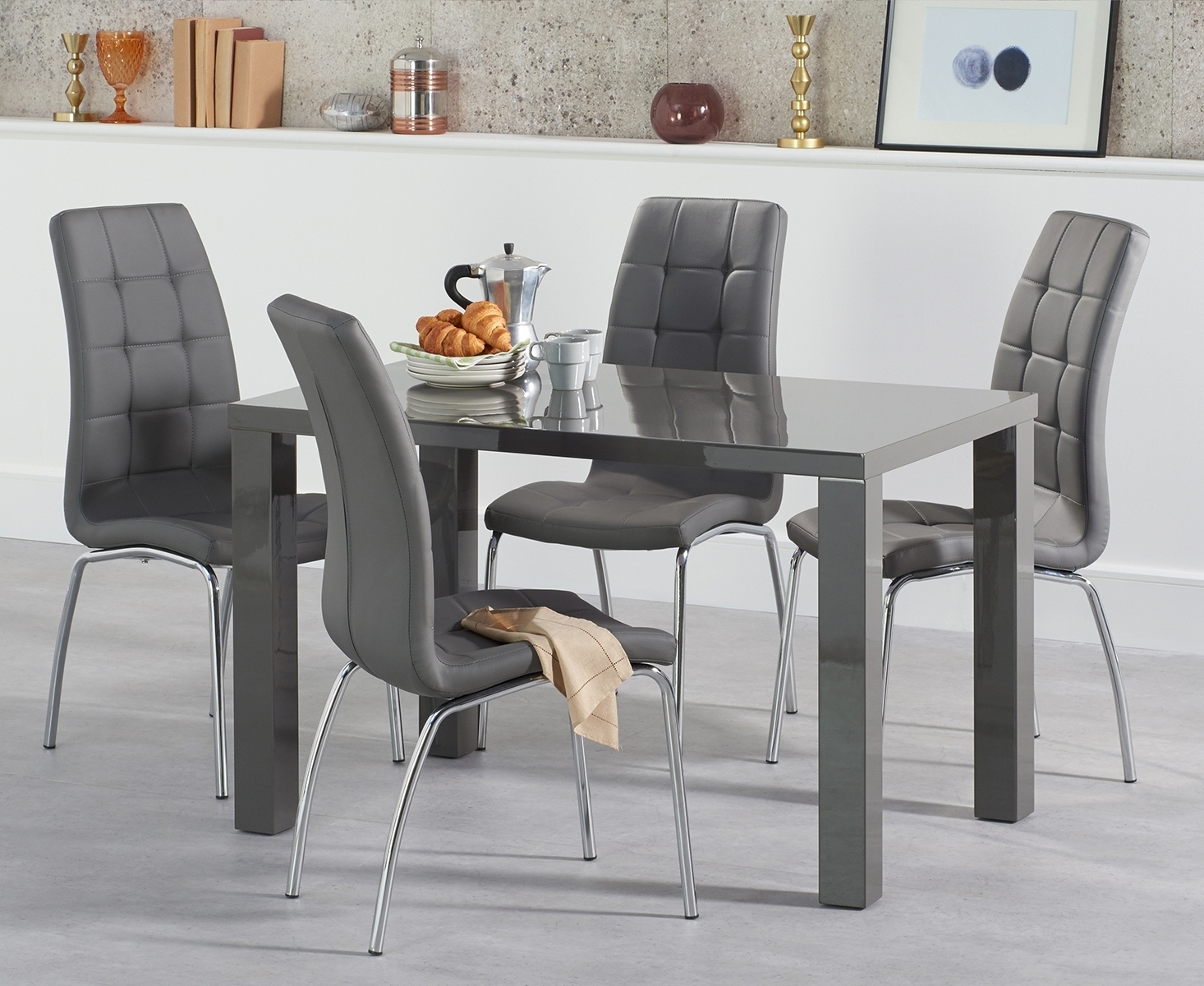 Most Recent Gloss Dining Set Inside Atlanta 120Cm Dark Grey High Gloss Dining Table With Calgary Chairs (View 12 of 25)