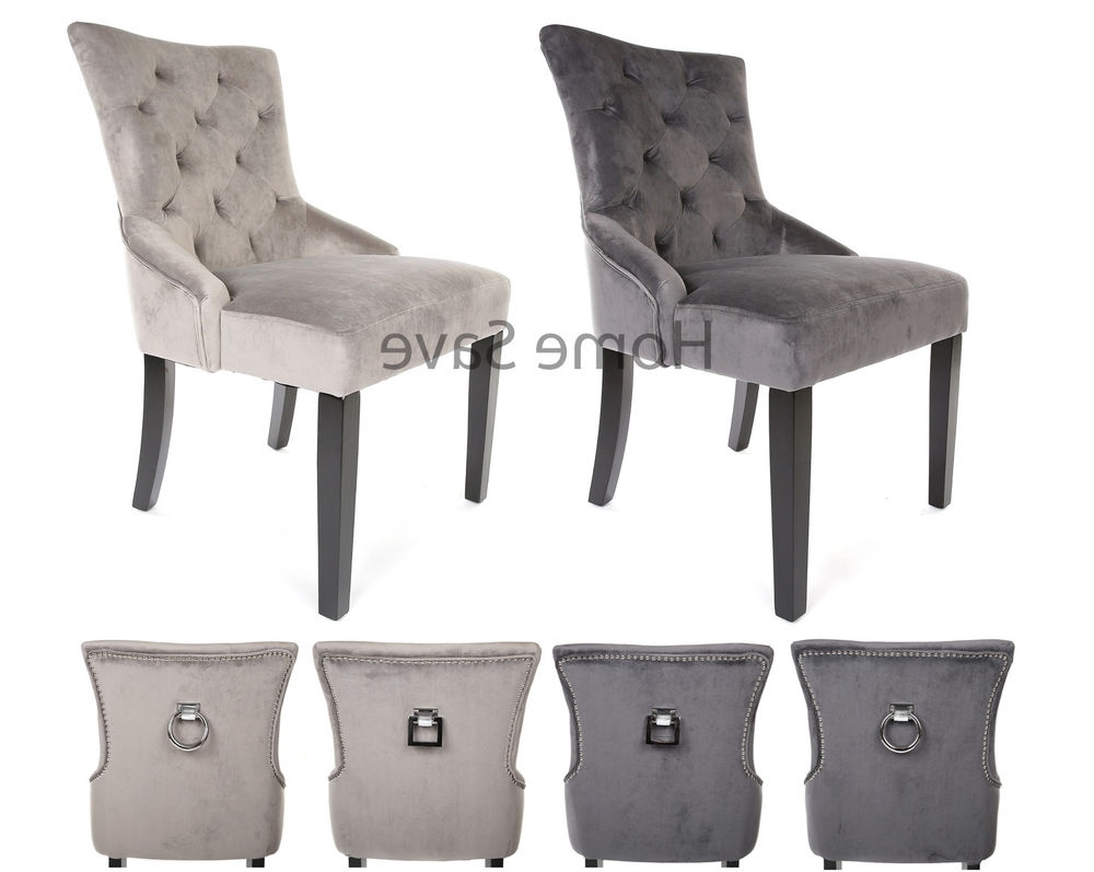 Most Recent Grey Dining Chairs For X 2 New Velvet Scoop Back Dining Chair Pair Light Or Deep Grey Stud (View 14 of 25)