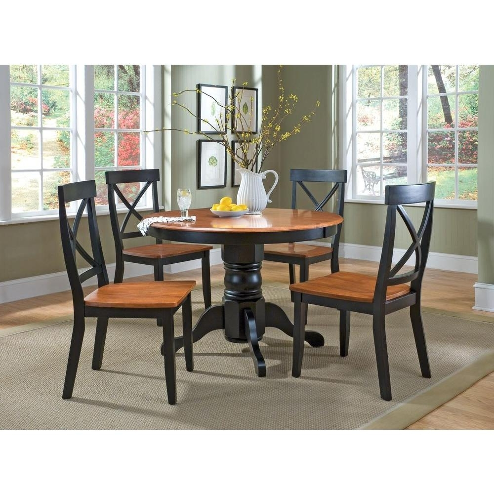 Most Recent Home Styles 5 Piece Black And Oak Dining Set 5168 318 – The Home Depot For Dark Round Dining Tables (View 18 of 25)